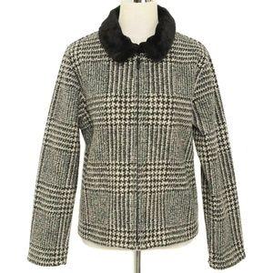 TALBOTS Houndstooth Faux Fur Collar Zip Jacket